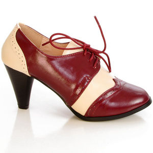 NEW Vintage 50's Saddle Shoes Oxford Heels in Red